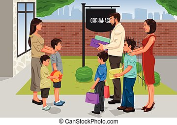 Family Giving Donation to the Orphanage - A vector...