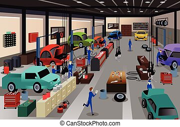 Scenes in an auto repair shop - A vector illustration of...