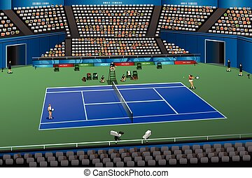 Women Playing Tennis in the Competition - A vector...
