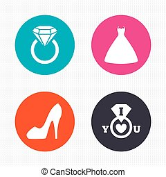 Wedding dress icon. Women's shoe symbol. - Circle buttons....