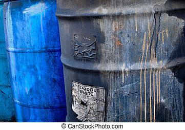 Hazardous Waste - Hazardous and Toxic Waste Barrels storing...