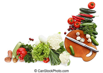 Vegetables isolated on white background, much space for own...