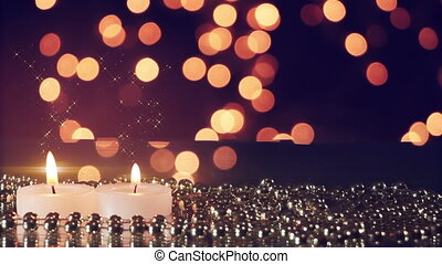 two candles and bokeh lights loopable romantic background