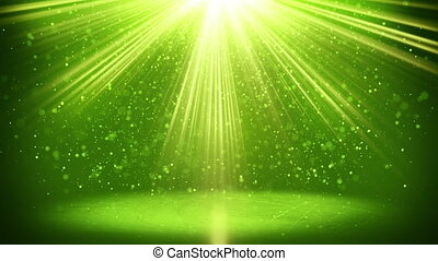 green light beams and particles loopable background - green...