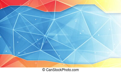 abstract triangle geometrical blue orange background loop -...