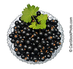 Blackcurrant with leaves in glass bowl