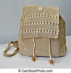 mochila, hechaa mano, lino