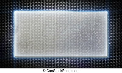 metal plate and neon lights loopable background - metal...