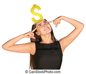 Businesslady with dollar sign - Smiling businesslady with...