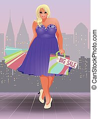 Plus size shopping girl, vector illustration