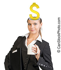 Businesslady with dollar sign in her head looking at camera...