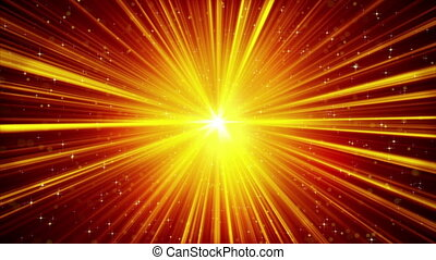 yellow shining light rays and stars loopable background -...