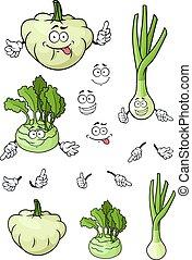 Cartoon onion, pattypan squash, kohlrabi vegetables -...