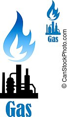 Industrial icon with refinery plant and flame