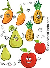Apple, mango, pineapple and pear fruits characters - Juicy...