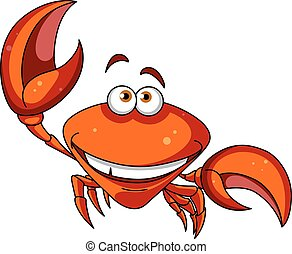 Happy smiling red cartoon crab