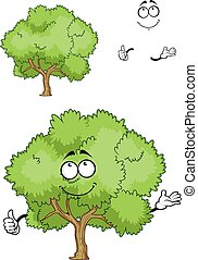 Cartoon green tree character with thumb up - Cartoon spring...