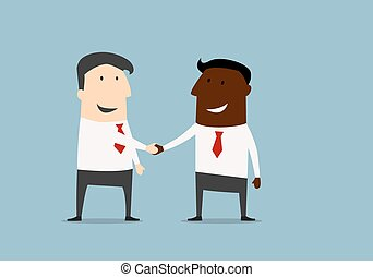 Black and caucasian businessmen handshake - Black and...