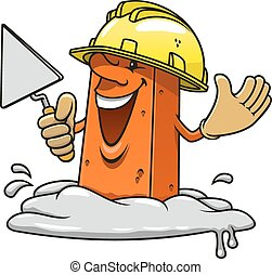Brick in construction helemet with trowel - Cartoon happy...