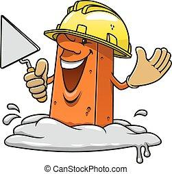 Brick in construction helemet with trowel - Cartoon happy...