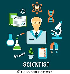 Scientist with research and science flat icons - Scientist...