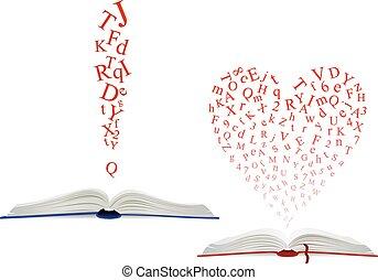 Alphabet letter cloud above an open book