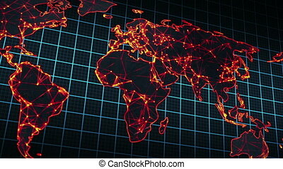 glowing map of world seamless loop panning