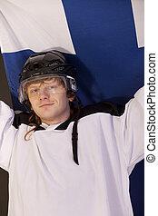 ice hockey fan with finnish flag