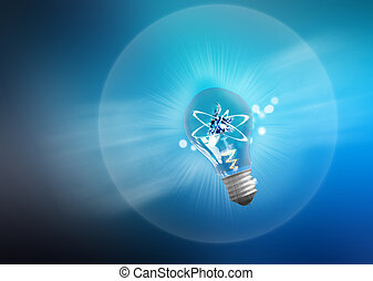 Explosion of ideas. Light bulb lamps on a colour background. Path included.