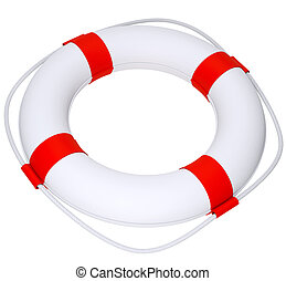 Life buoy with rope on isolated white background, close-up...