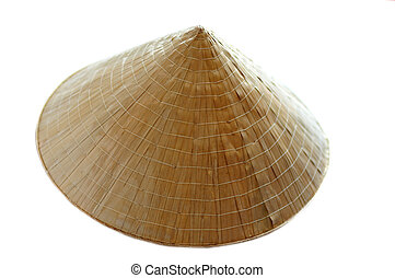 Asian conical hat isolated on the white background