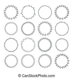 Romantic collection with hand drawn circle frames. Set for...