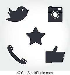 Social media and network icons set. Collection of different icons - hipster digital camera, like hand symbol, messenger bird and telephone receiver