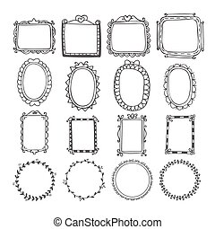 Vintage hand drawn frames in vector. Doodle set of design elements