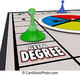 Get a Degree Words Board Game Advance Job Career Education