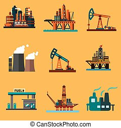 Oil extraction, refinery and retail flat icons - Petroleum...