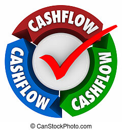 Cashflow Word Arrows Check Mark Earning Money Income Revenue...