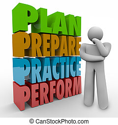 Plan Prepare Practice Perform Thinking Person Strategy Idea...