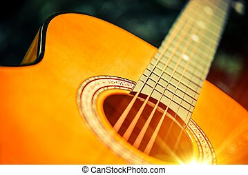Acoustic Wooden Guitar Closeup Photo. Guitar Playing...