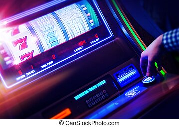 Casino Slot Machine Player Closeup Photo. Digital Slot...