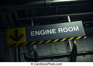 Engine Room Sign Inside Military Warship. Direction Sign.