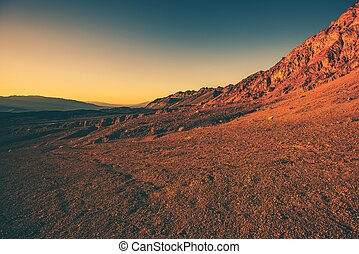 Harsh California Landscape Death Valley Vista at Sunset...