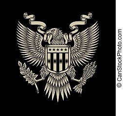 American Eagle Emblem - fully editable vector illustration...