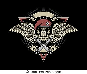 Military Skull with Wings - fully editable vector...