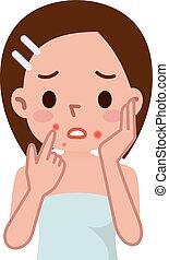 Ugly problem skin girl - Vector illustration.