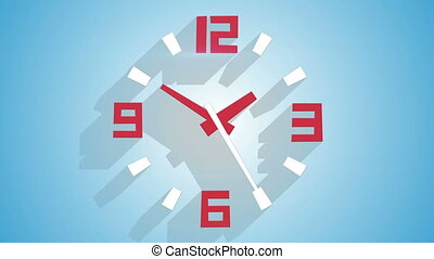 modern wall clock with long shadows animation