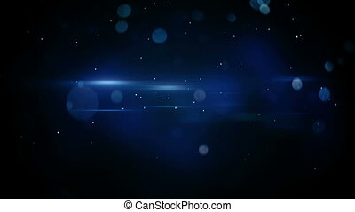 blue bokeh circles and light flares loopable background -...