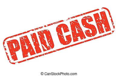 Paid cash red stamp text