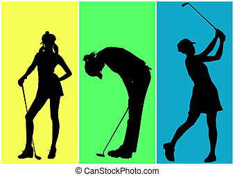 golf - Girls playing in golf on colored background