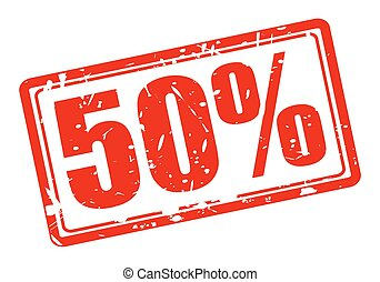 50 percent red stamp text on white